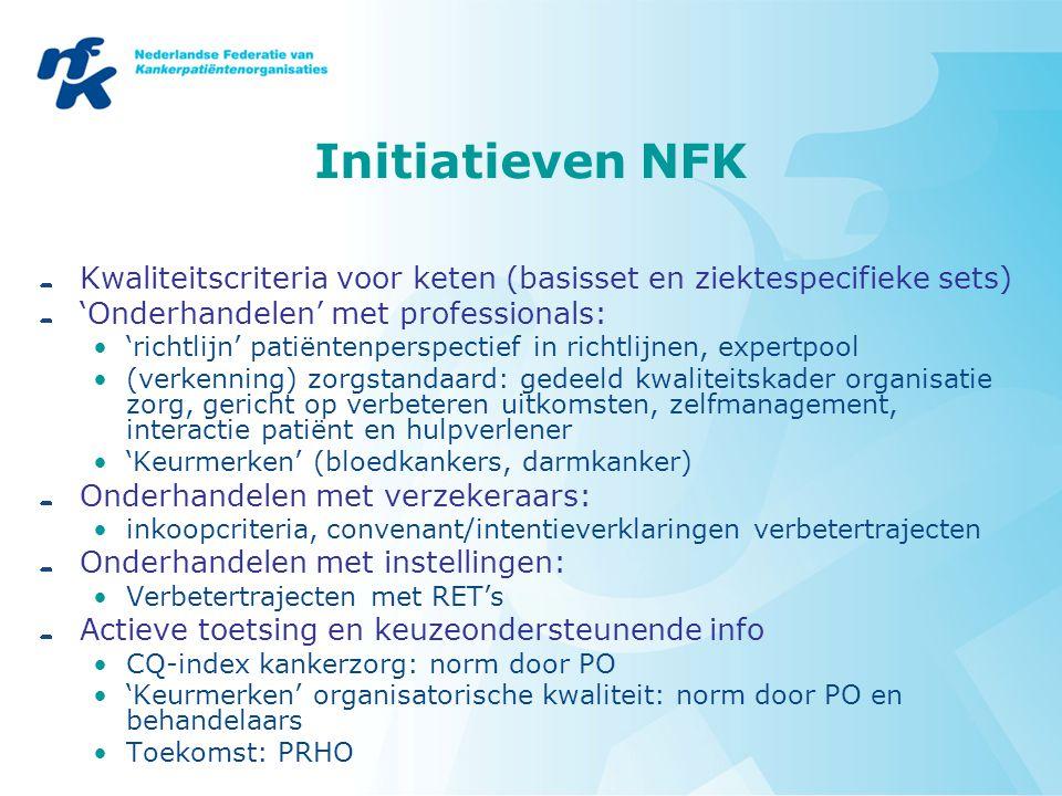 Initiatieven NFK Kwaliteitscriteria voor keten (basisset en ziektespecifieke sets) 'Onderhandelen' met professionals: