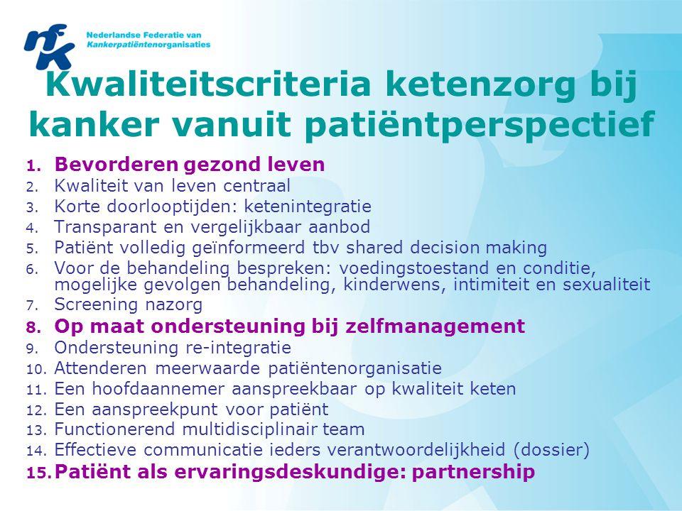 Kwaliteitscriteria ketenzorg bij kanker vanuit patiëntperspectief