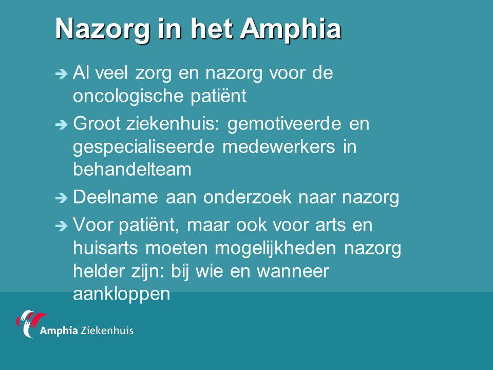 Nazorg in het Amphia Al veel zorg en nazorg voor de oncologische patiënt.