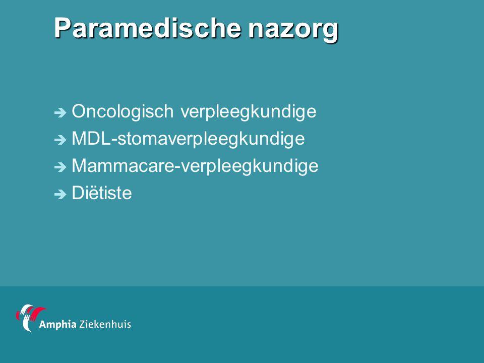 Paramedische nazorg Oncologisch verpleegkundige