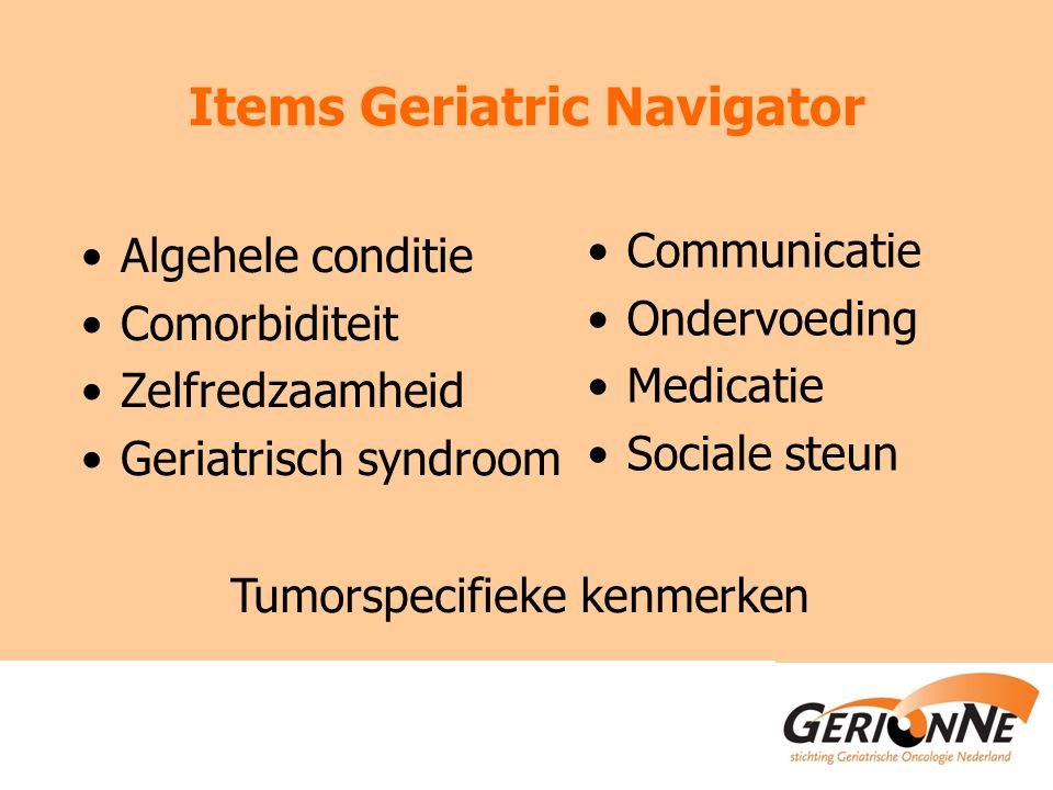 Items Geriatric Navigator