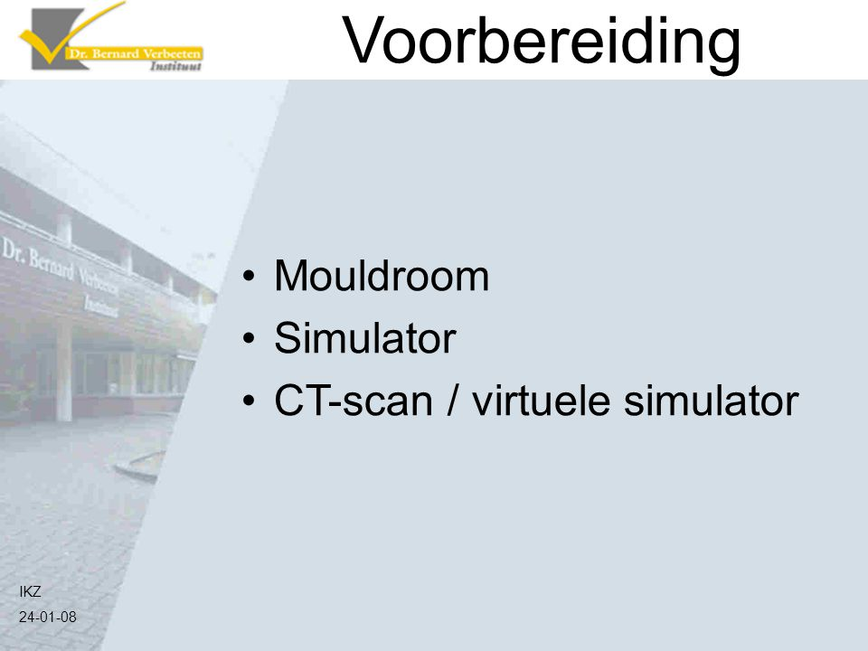 Voorbereiding Mouldroom Simulator CT-scan / virtuele simulator