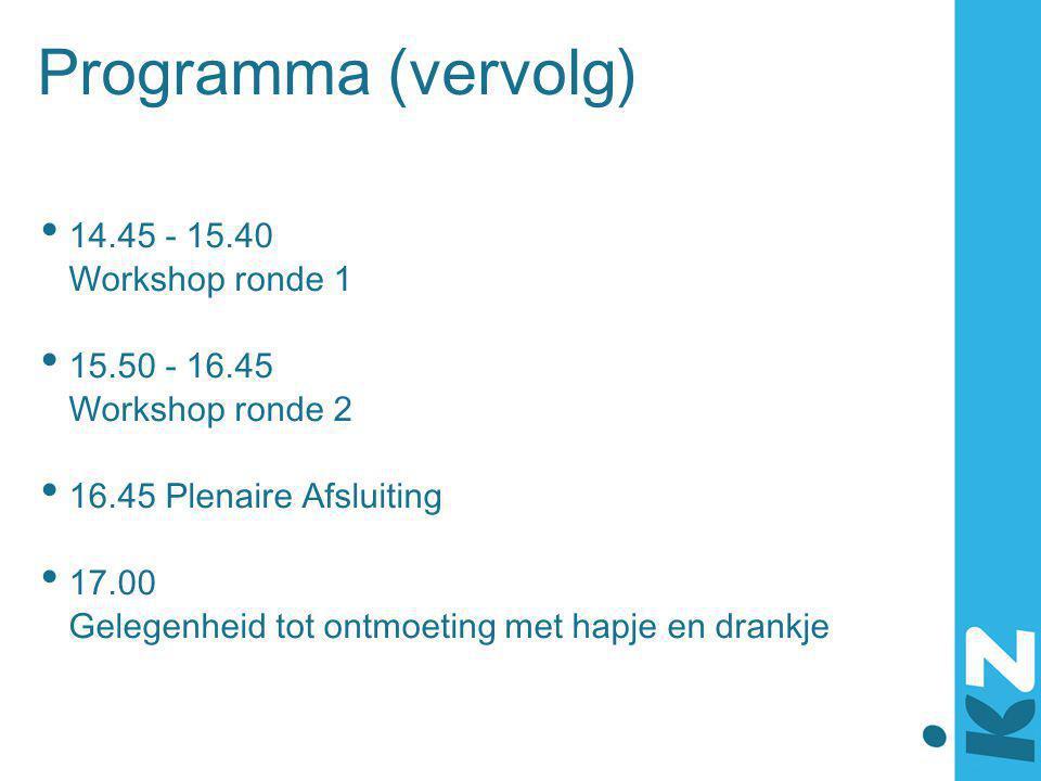 Programma (vervolg) 14.45 - 15.40 Workshop ronde 1 15.50 - 16.45