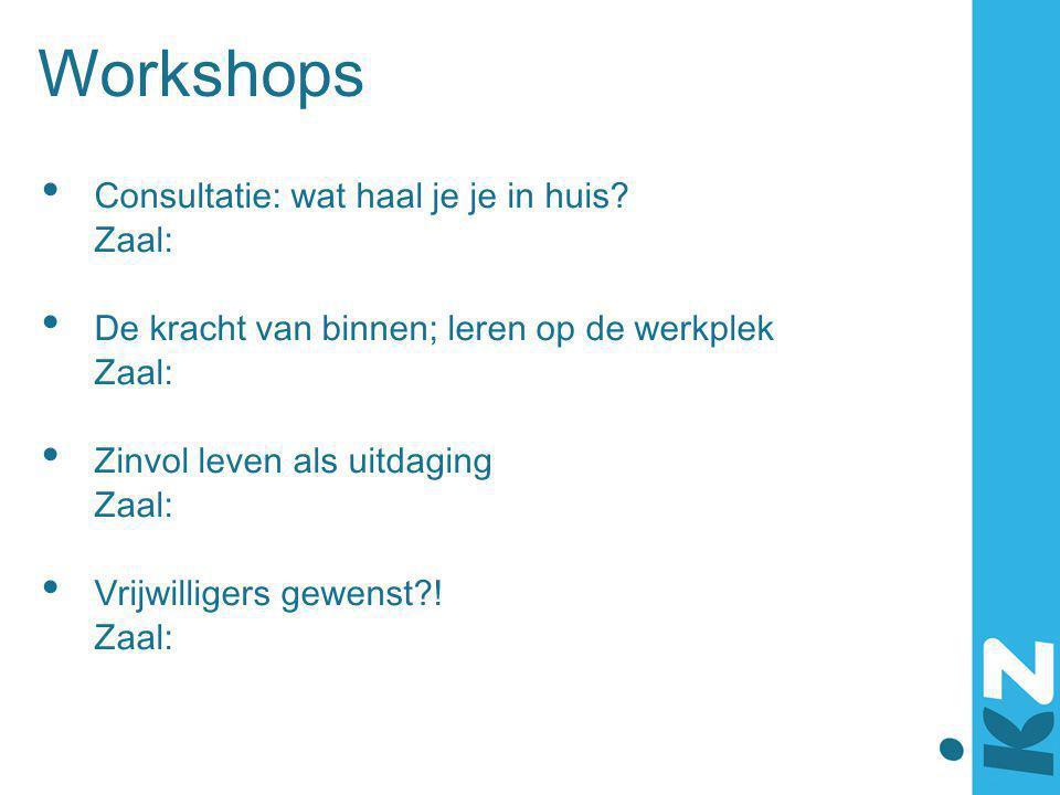 Workshops Consultatie: wat haal je je in huis Zaal: