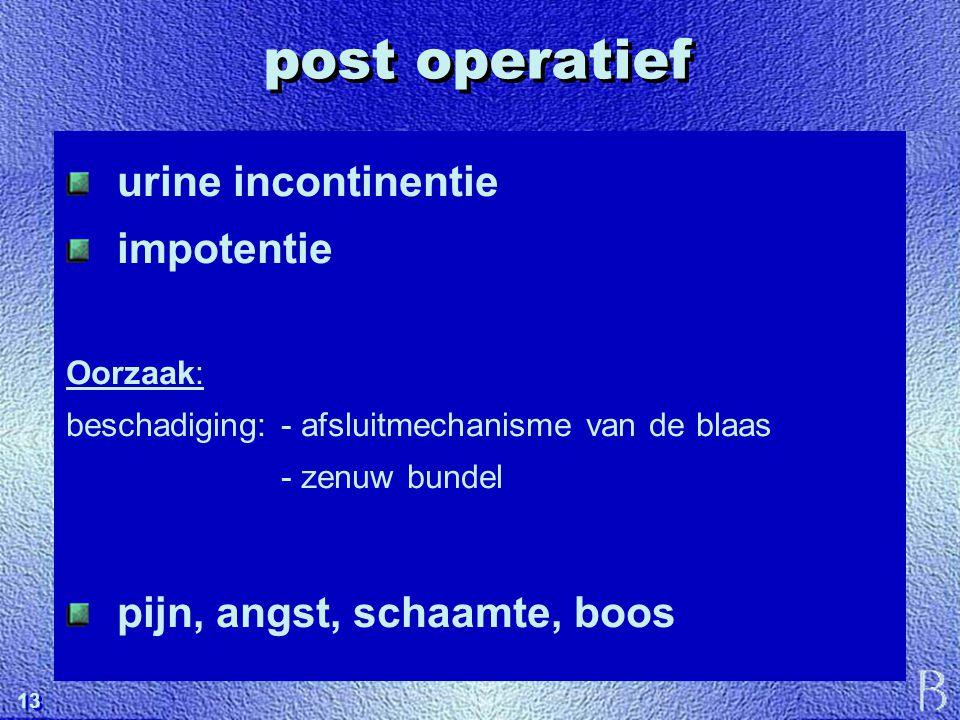 post operatief urine incontinentie impotentie