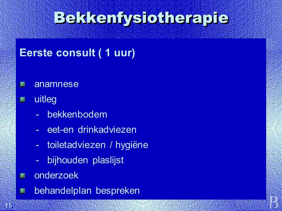 Bekkenfysiotherapie Eerste consult ( 1 uur) anamnese uitleg