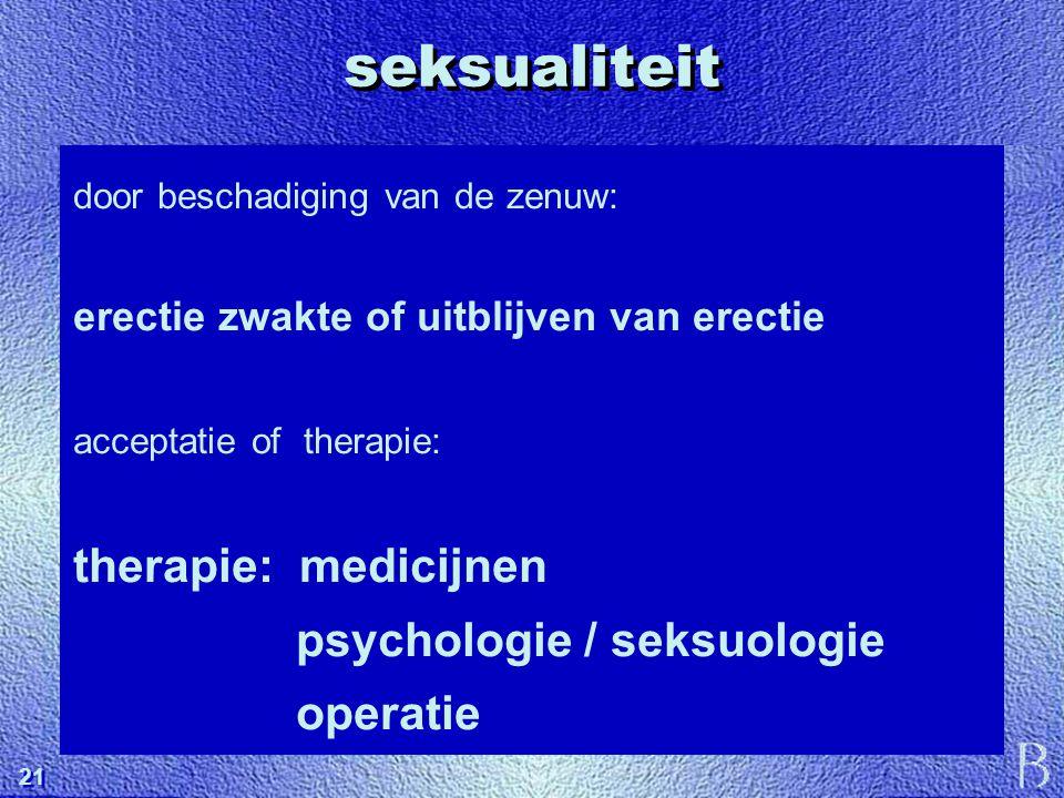 seksualiteit therapie: medicijnen psychologie / seksuologie operatie