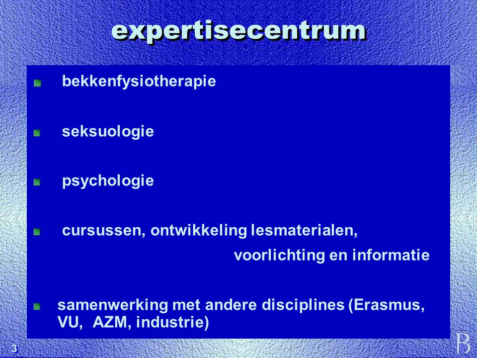 expertisecentrum bekkenfysiotherapie seksuologie psychologie