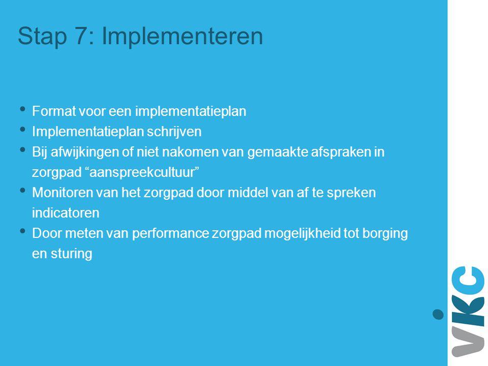 Stap 7: Implementeren Format voor een implementatieplan