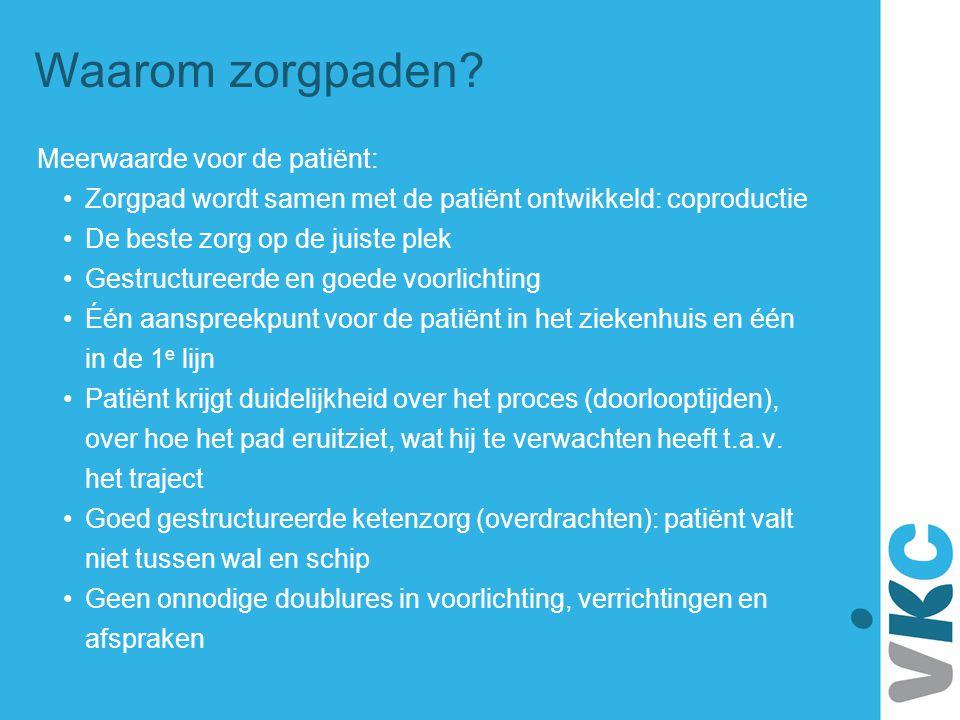 Waarom zorgpaden Meerwaarde voor de patiënt: