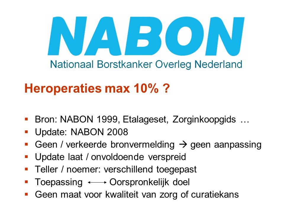 Heroperaties max 10% Bron: NABON 1999, Etalageset, Zorginkoopgids …