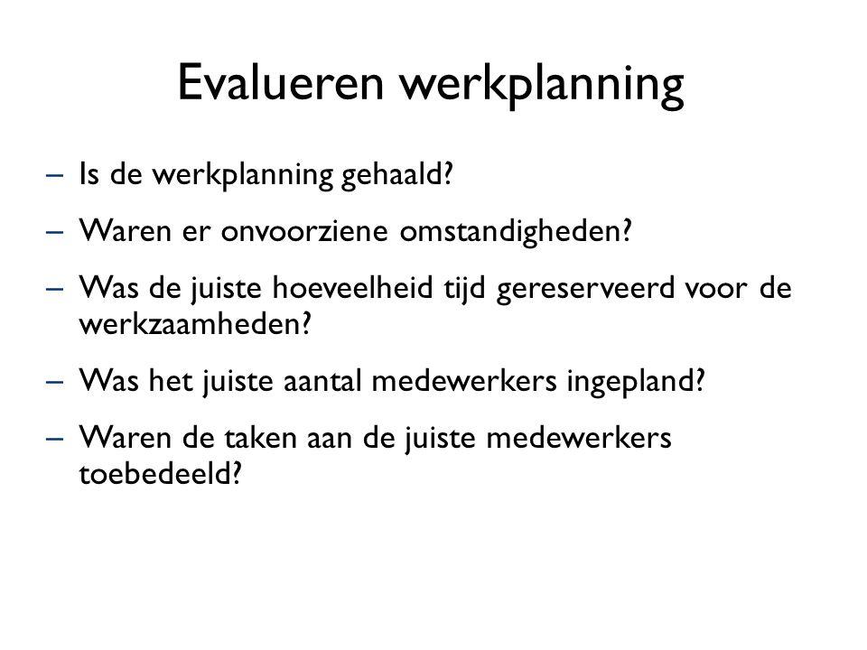 Evalueren werkplanning