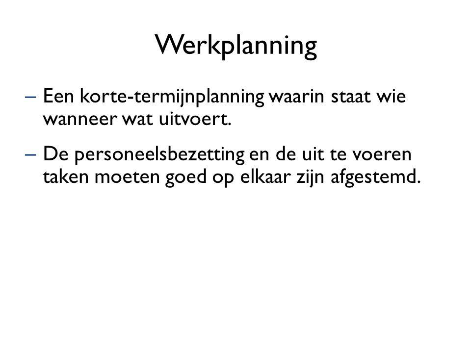 Werkplanning Een korte-termijnplanning waarin staat wie wanneer wat uitvoert.