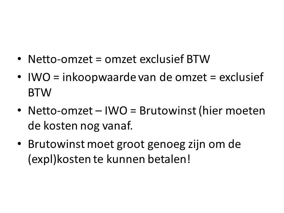 Netto-omzet = omzet exclusief BTW