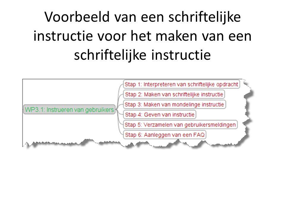 Voorbeeld van een schriftelijke instructie voor het maken van een schriftelijke instructie