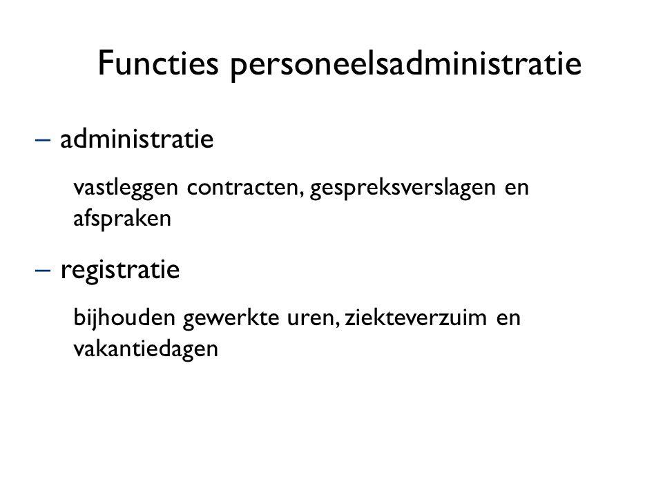 Functies personeelsadministratie