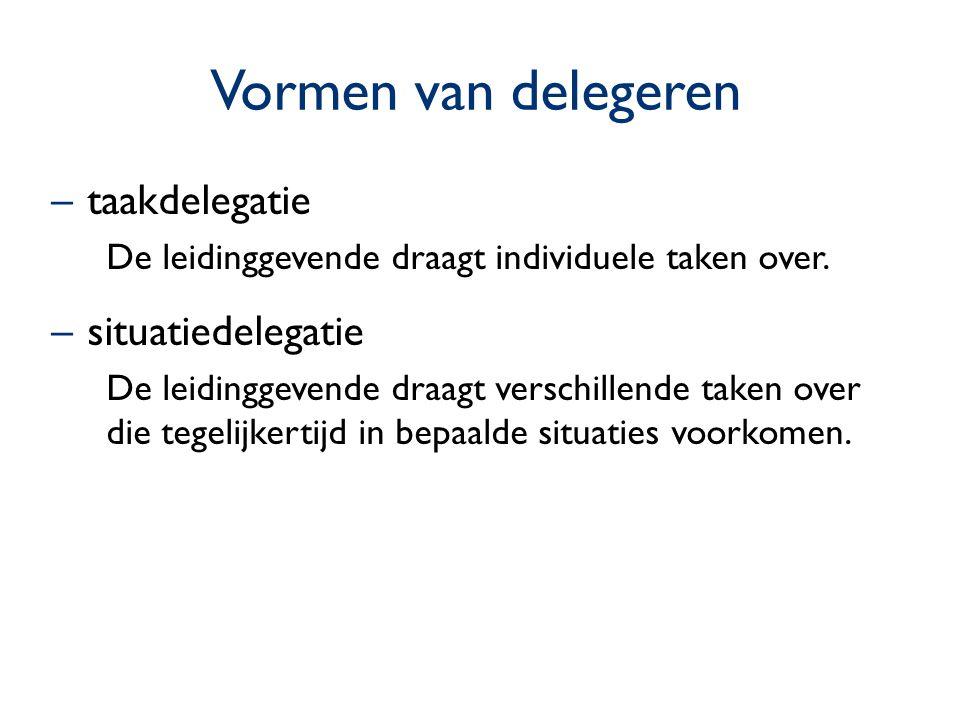 Vormen van delegeren taakdelegatie situatiedelegatie