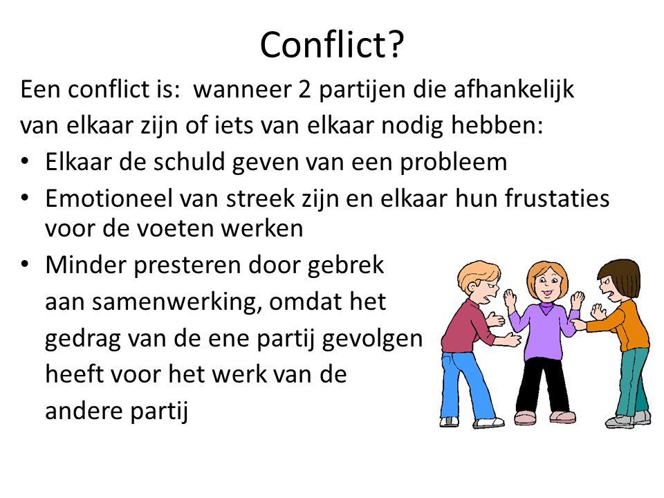 Conflict Een conflict is: wanneer 2 partijen die afhankelijk