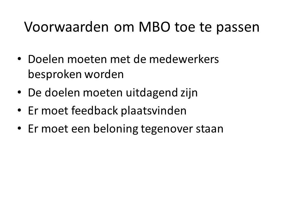 Voorwaarden om MBO toe te passen