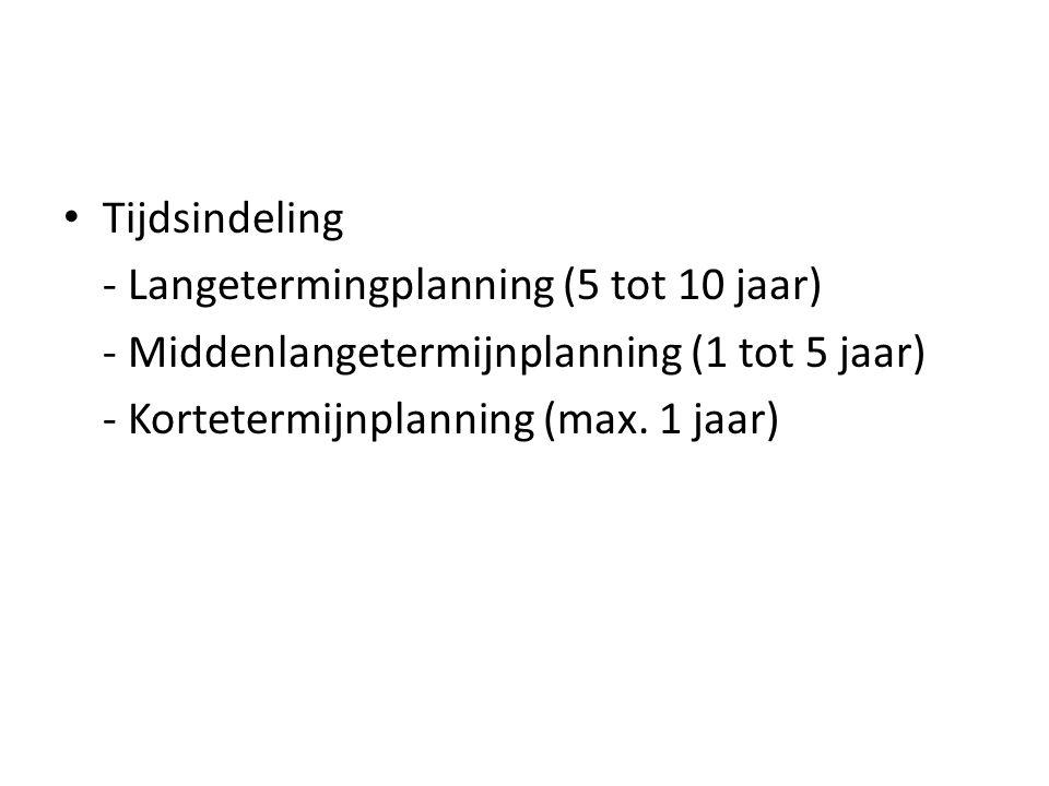 Tijdsindeling - Langetermingplanning (5 tot 10 jaar) - Middenlangetermijnplanning (1 tot 5 jaar) - Kortetermijnplanning (max.