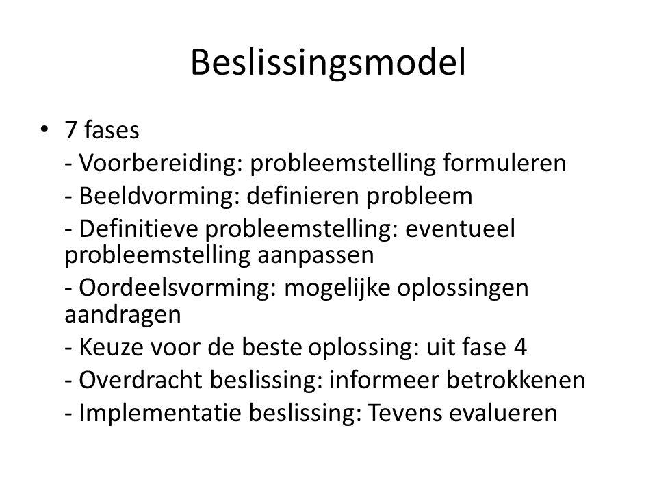 Beslissingsmodel 7 fases - Voorbereiding: probleemstelling formuleren