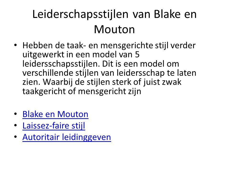 Leiderschapsstijlen van Blake en Mouton