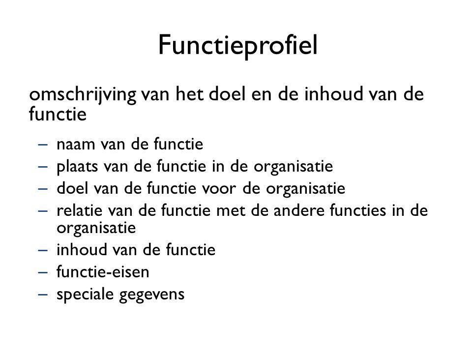 Functieprofiel omschrijving van het doel en de inhoud van de functie