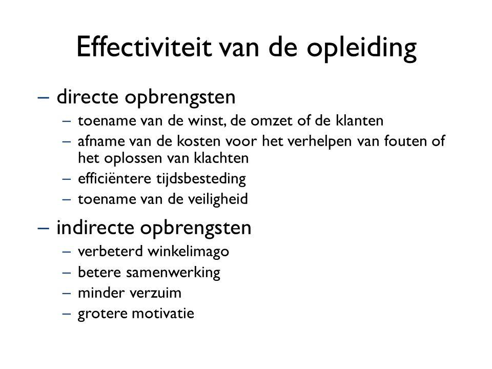Effectiviteit van de opleiding