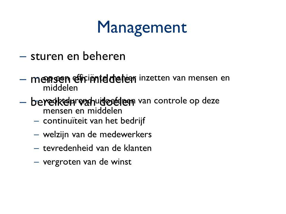 Management sturen en beheren mensen en middelen bereiken van doelen