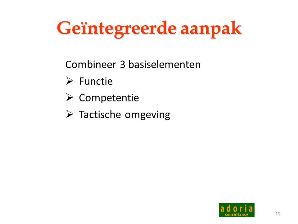 Geïntegreerde aanpak Combineer 3 basiselementen Functie Competentie