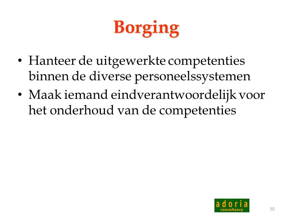 Borging Hanteer de uitgewerkte competenties binnen de diverse personeelssystemen.