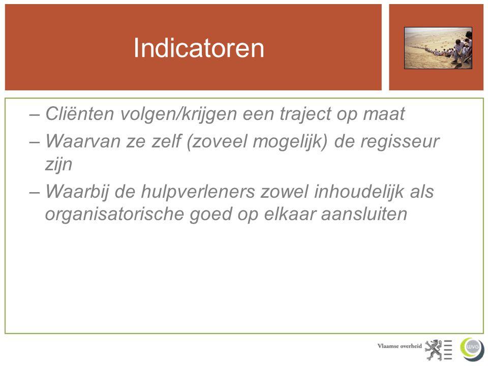 Indicatoren Cliënten volgen/krijgen een traject op maat