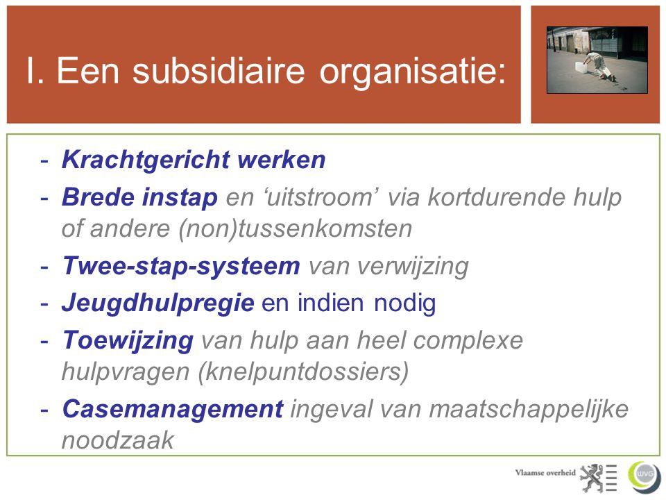 I. Een subsidiaire organisatie: