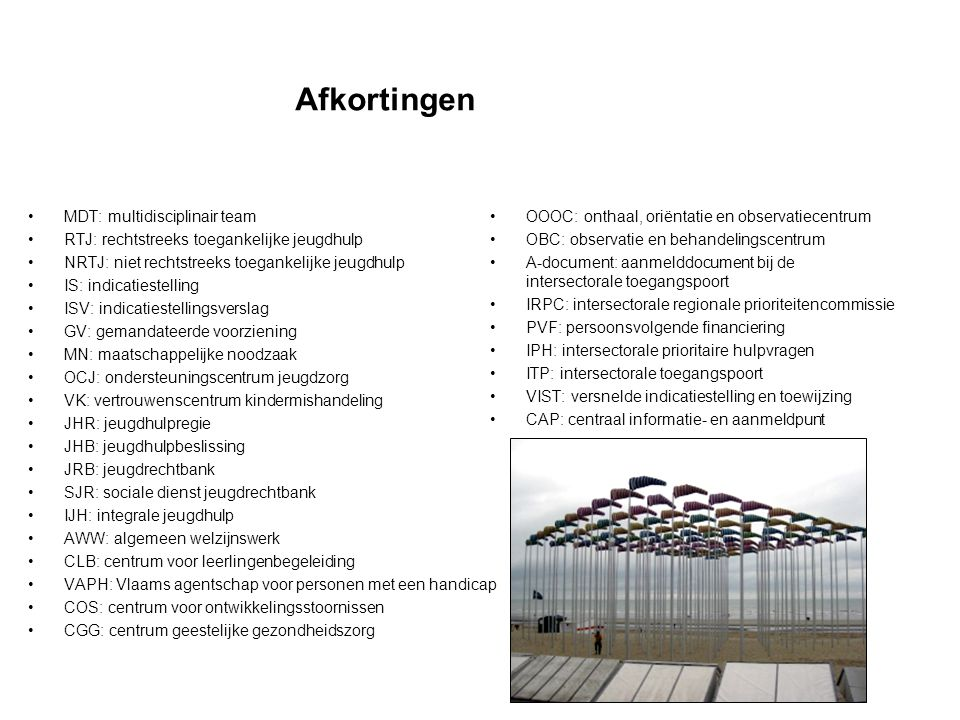 Afkortingen MDT: multidisciplinair team
