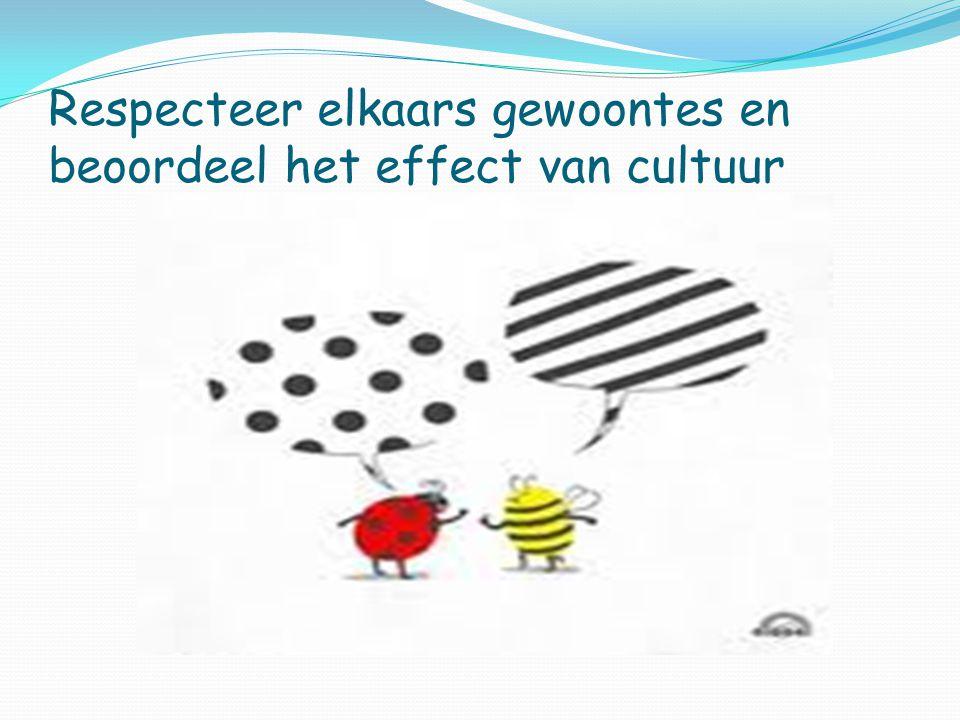 Respecteer elkaars gewoontes en beoordeel het effect van cultuur