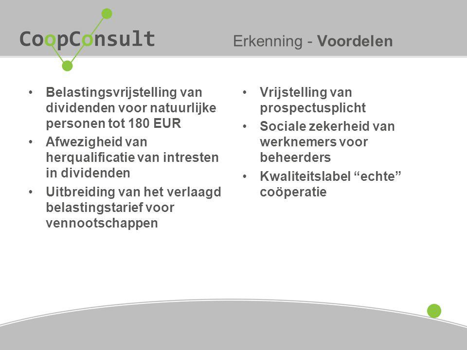Erkenning - Voordelen Belastingsvrijstelling van dividenden voor natuurlijke personen tot 180 EUR.