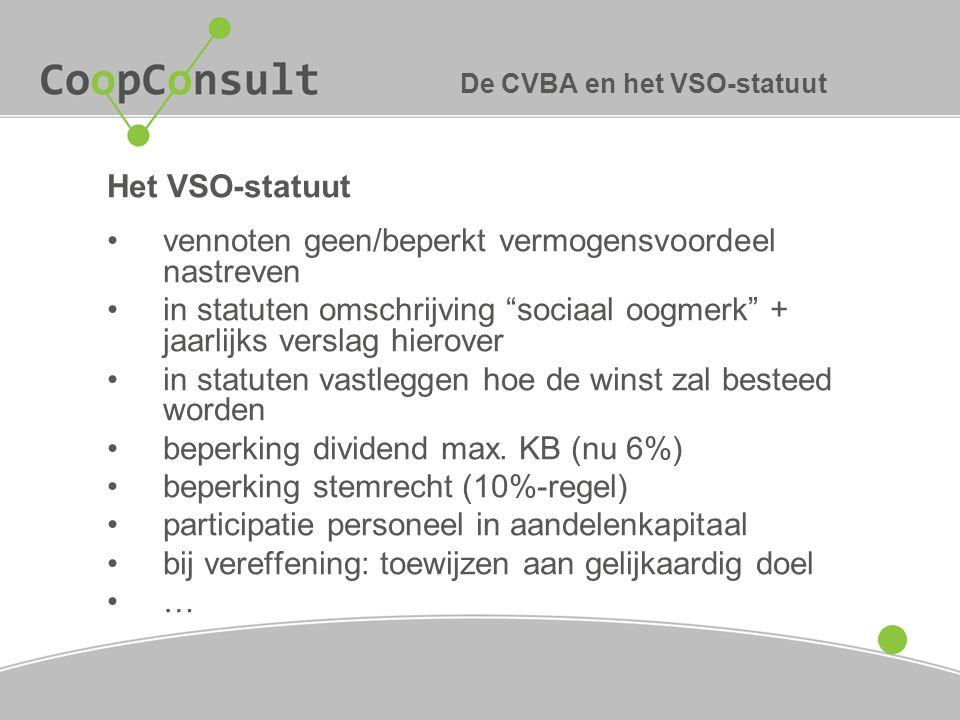 De CVBA en het VSO-statuut
