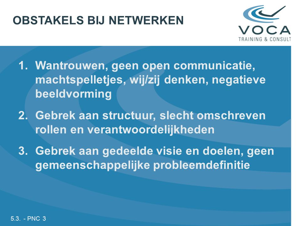 OBSTAKELS BIJ NETWERKEN