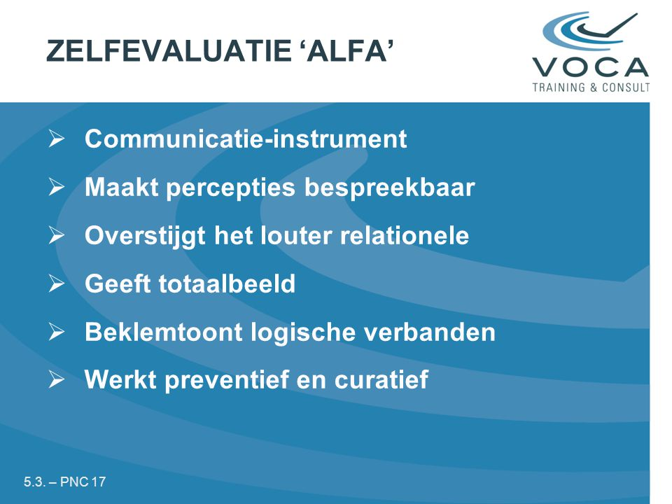 ZELFEVALUATIE 'ALFA' Communicatie-instrument