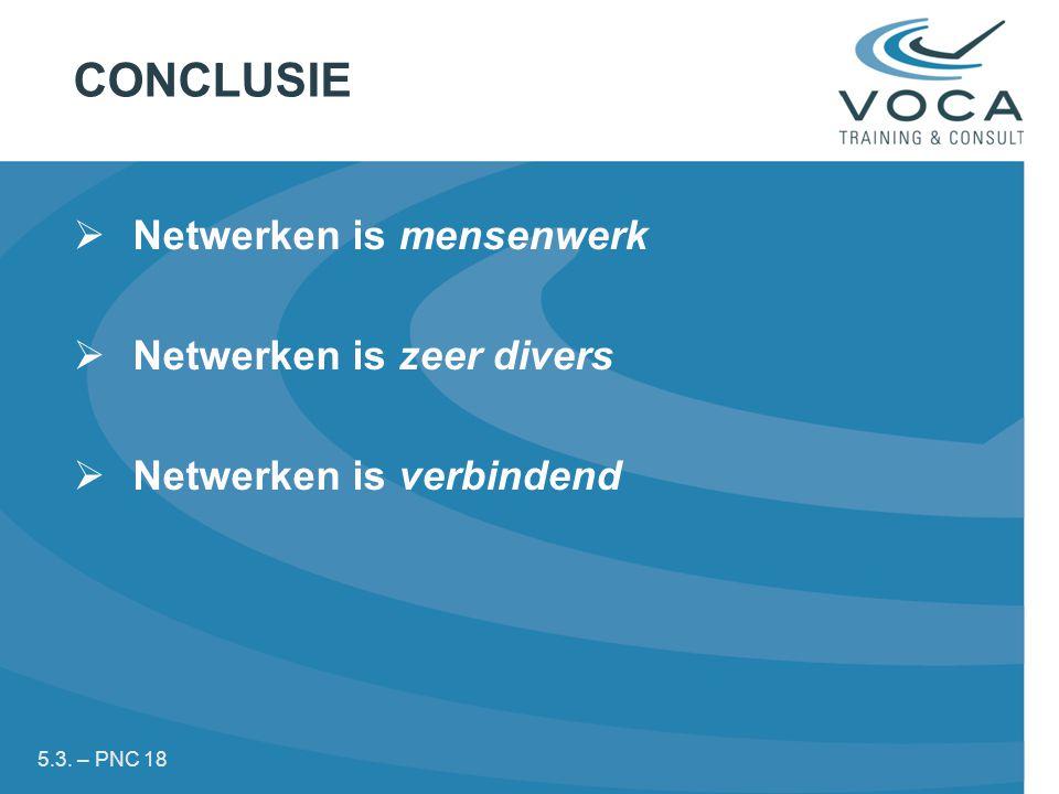 CONCLUSIE Netwerken is mensenwerk Netwerken is zeer divers
