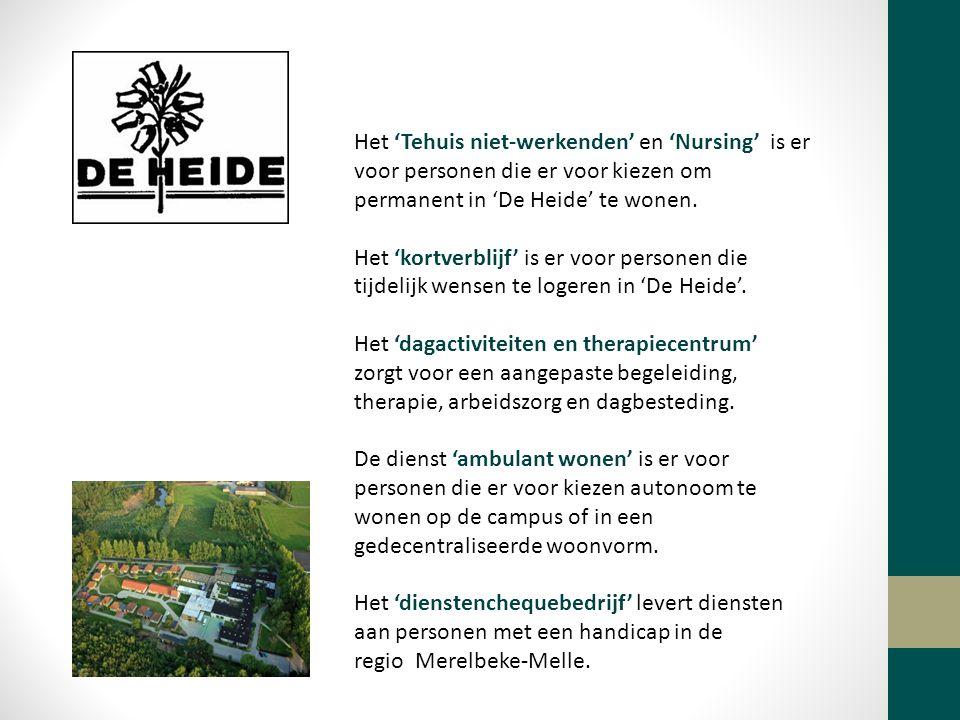 Het 'Tehuis niet-werkenden' en 'Nursing' is er voor personen die er voor kiezen om permanent in 'De Heide' te wonen.