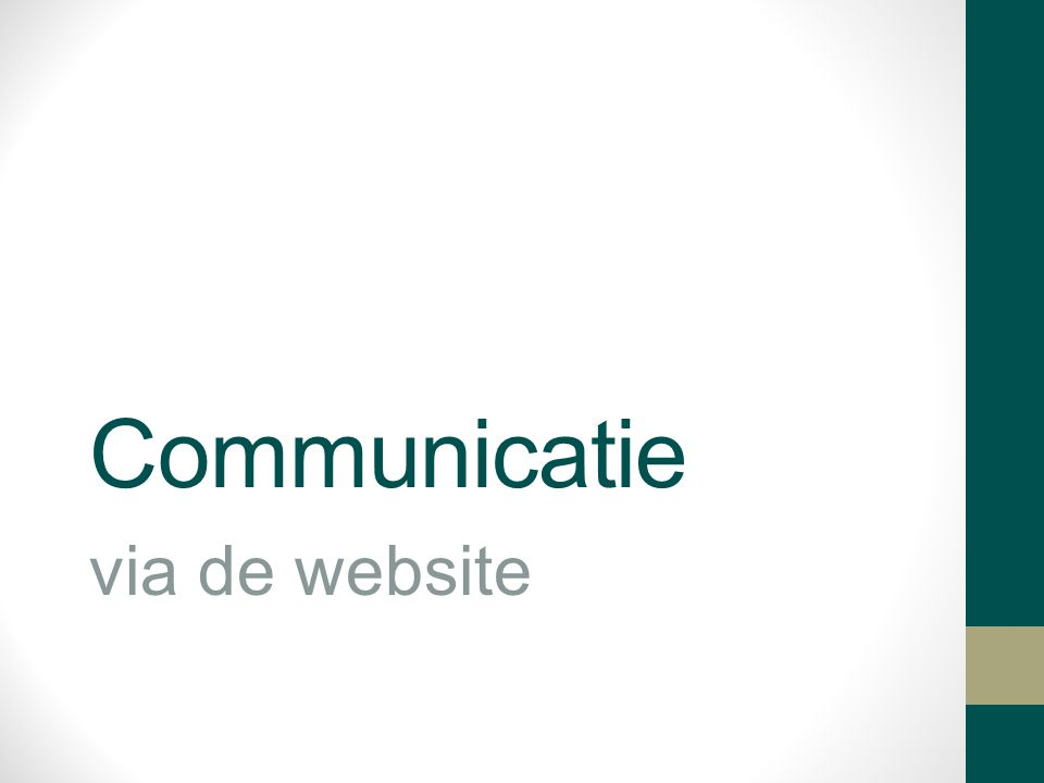 Communicatie via de website