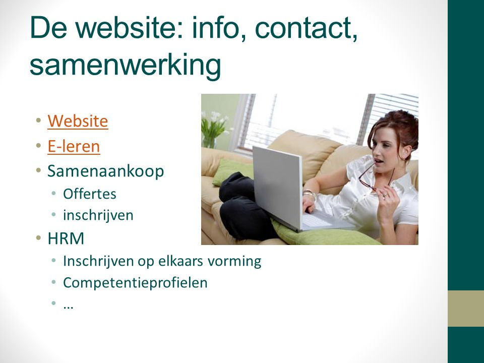 De website: info, contact, samenwerking