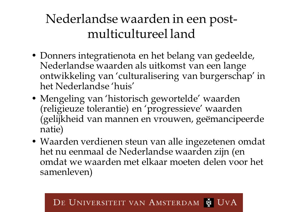 Nederlandse waarden in een post-multicultureel land