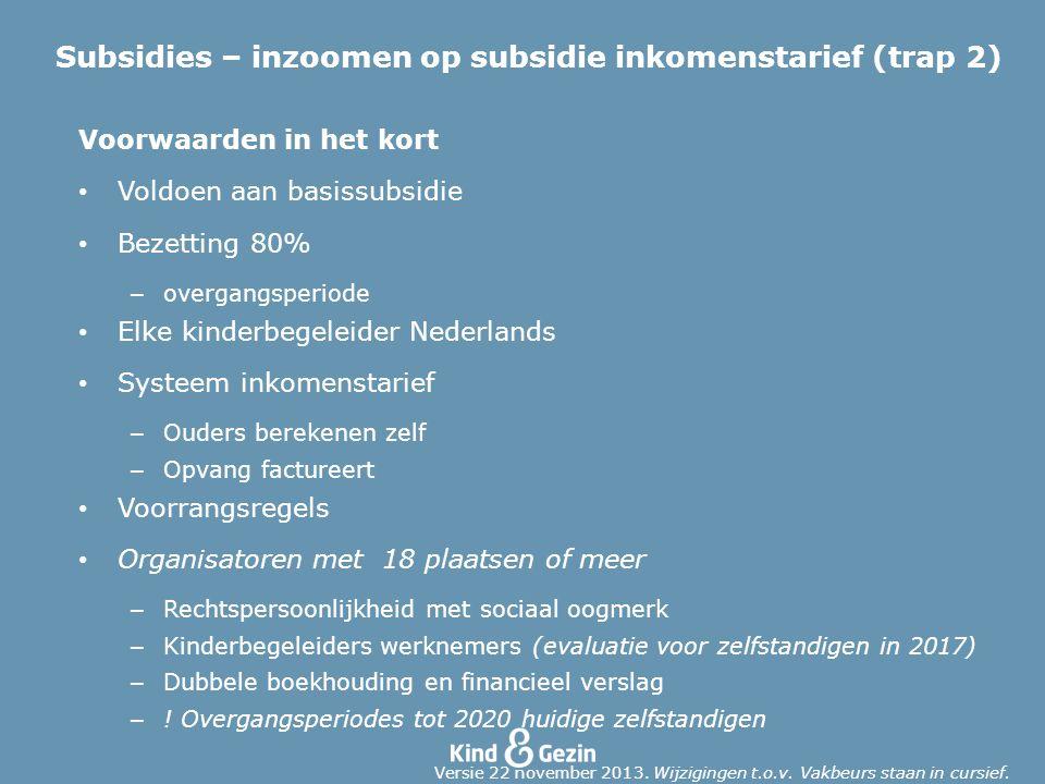Subsidies – inzoomen op subsidie inkomenstarief (trap 2)