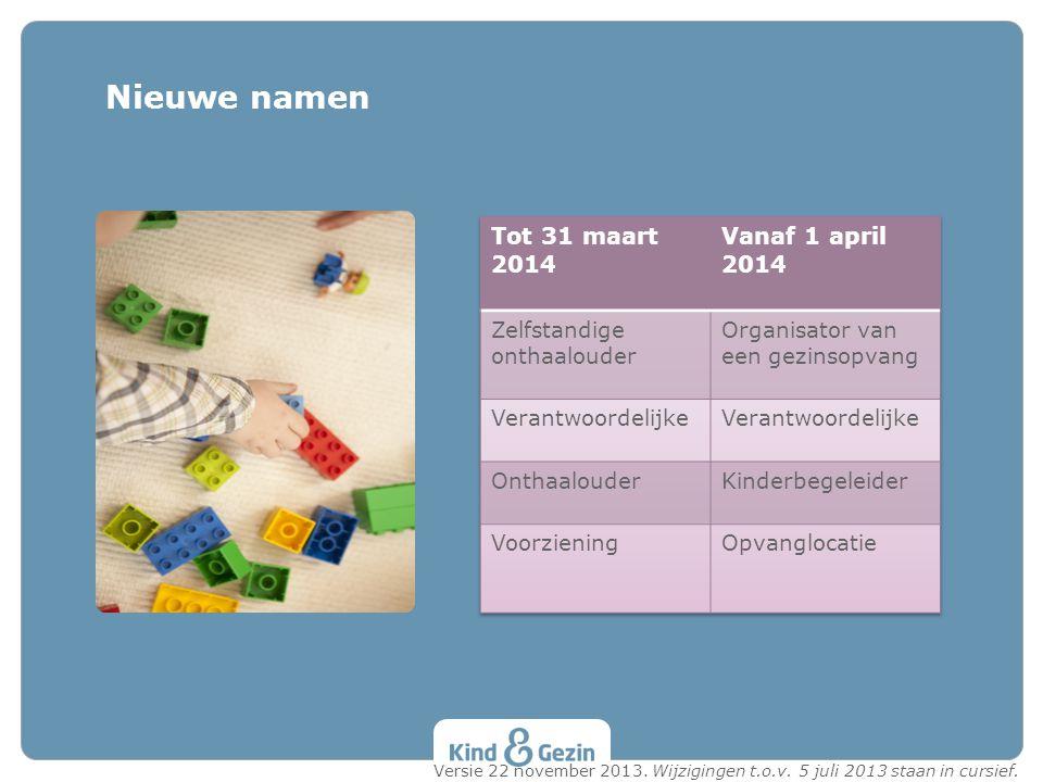 Nieuwe namen Tot 31 maart 2014 Vanaf 1 april 2014