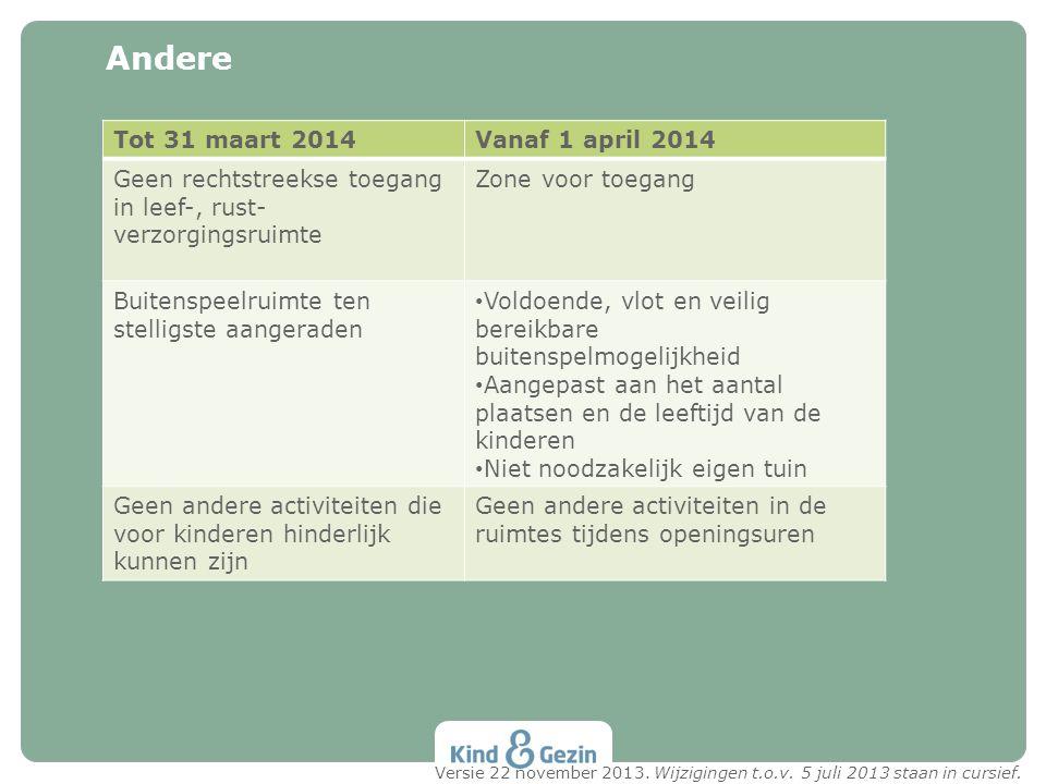 Andere Tot 31 maart 2014 Vanaf 1 april 2014