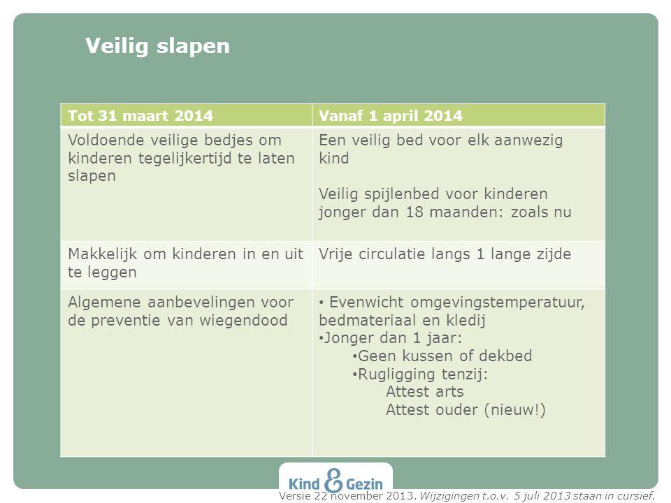 Veilig slapen Tot 31 maart 2014. Vanaf 1 april 2014. Voldoende veilige bedjes om kinderen tegelijkertijd te laten slapen.
