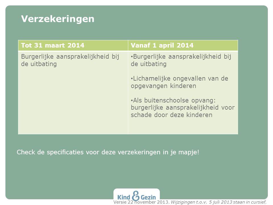 Verzekeringen Tot 31 maart 2014 Vanaf 1 april 2014