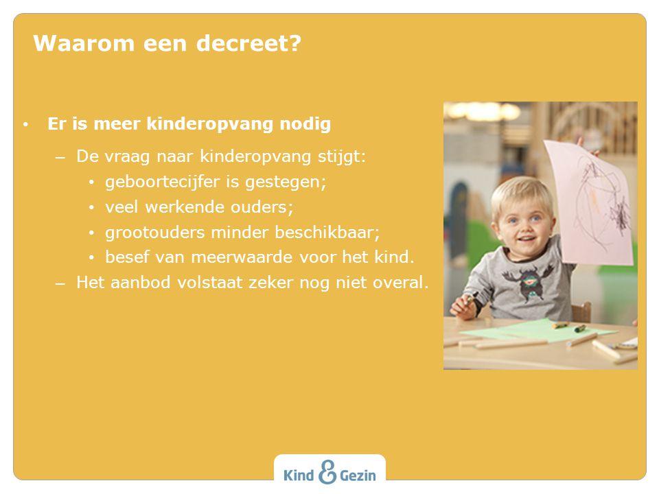 Waarom een decreet Er is meer kinderopvang nodig